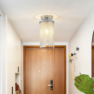 Waterfall Aluminum Chain Semi-Flush Mount Light Modern Metal 1 Head Semi-Flush Mount for Corridor