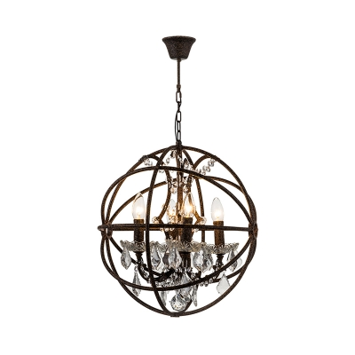 Wire Globe Chandelier Lighting Country Style 4 Lights Rust Hanging Light with Crystal Accents