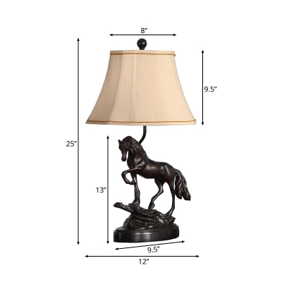 1 Head Bell Table Lighting with Horse Accents Loft Style Beige Fabric Shade Standing Table Light in Black