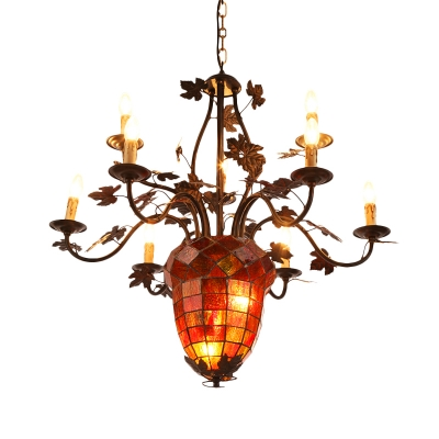 12 Lights Pinecone Hanging Ceiling Light with Candle Stained Glass Country Chandelier in Brown