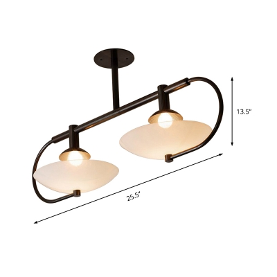 2 Lights Bowl Pendant Lamp Frosted Glass Modern Island Lighting for Dining Table