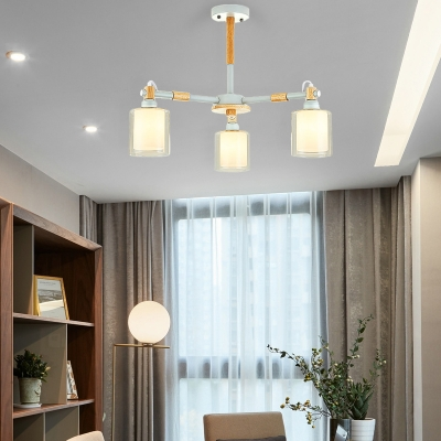 3/5/6/8-Bulb White Inner Glass Cylinder Hanging Light Contemporary Bedroom Ceiling Chandelier in Grey/White
