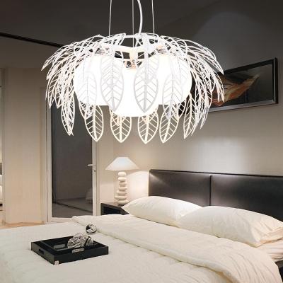 3 Lights Spherical Hanging Light Modern Opal Glass Chandelier Lighting in Black
