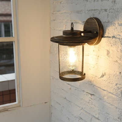 Aged Bronze/Matte Black Cylinder Wall Light 1 Head Industrial Glass Shade Wall Sconce for Porch HL563651 фото