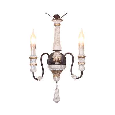 Antique Style Candle Sconce Light Solid Wood Distressed White Wall Lighting for Living Room