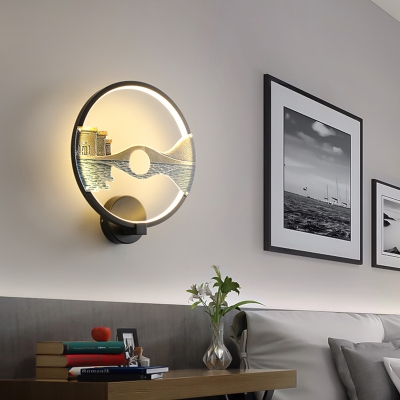 Art Deco Ring Wall Lighting with Landscape Design Metal Integrated Led Indoor Lighting