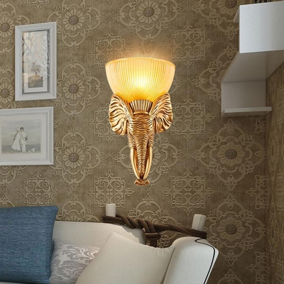 Bowl Wall Light with Gold/White Elephant Ribbed Amber Glass 1 Light Loft Decorative Wall Lamp