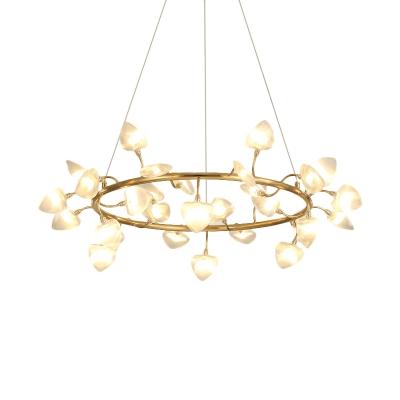 Brass Ring Chandelier Lighting with Heart Ribbed Glass Shade Multi Light Led Bedroom Suspension Light