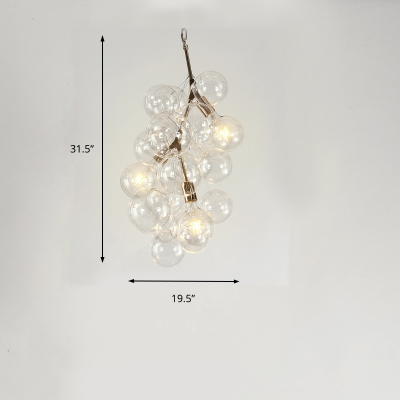Clear Glass Bubble Pendant Lighting Mid Century Modern 3/5 Lights Hanging Chandelier in Gold