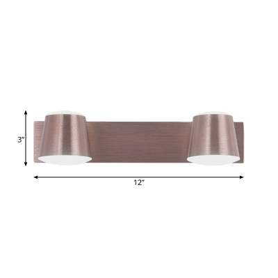 Copper Cone Wall Lighting with Metal Shade 1/2/3 Lights Vintage Led Bathroom Lighting in Warm/White Light