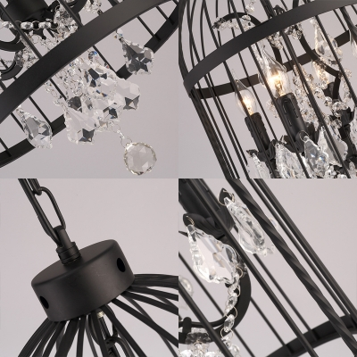 Country Style Birdcage Pendant Lighting with Crystal Accents Metallic 4 Lights Black Hanging Lamp