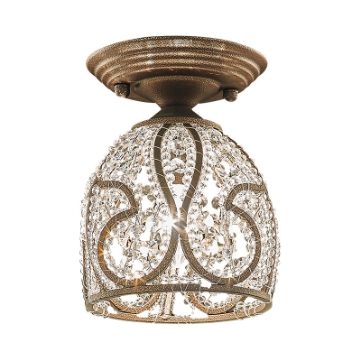 Crystal Dome Flush Lighting Country Style 1 Light Corridor Flush Mount Lamp in Bronze