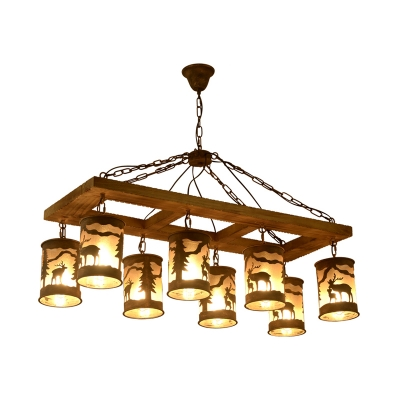 Linear Island Lighting Country Style Solid Wood and Metal 8 Lights Multi Light Pendant in Rust