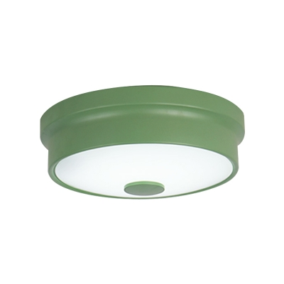 Macaron Drum Ceiling Flush Light Metal Led Kids Room Flushmount Lighting in Black/Green/Pink/Yellow with Frosted Glass Diffuser