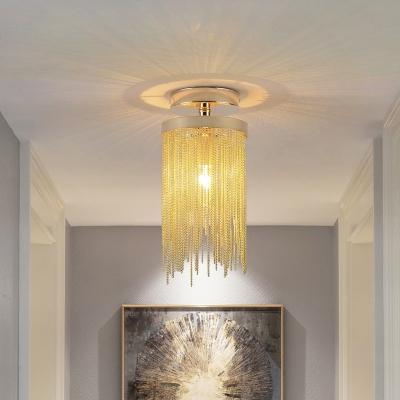 Metal Tassel Chain Semi Flush Lighting Modern 1 Light Decorative Foyer Semi Flushmount Light in Blue/Chrome/Green/Gold