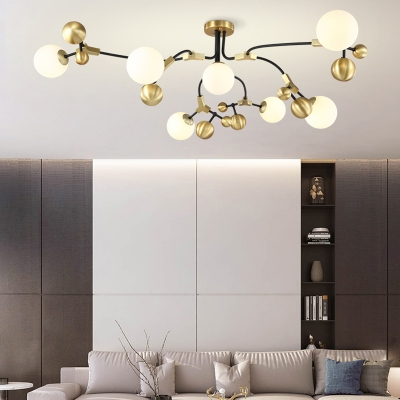 Mid Century Modern Orb Ceiling Chandelier Frosted Glass 2/5/7 Lights Hanging Light in Brass Finish