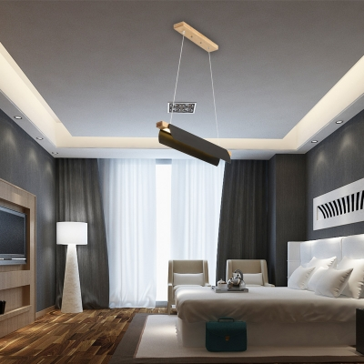 Minimalist Linear Chandelier Metal Black/White Hanging Ceiling Light in Third Gear, 27.5