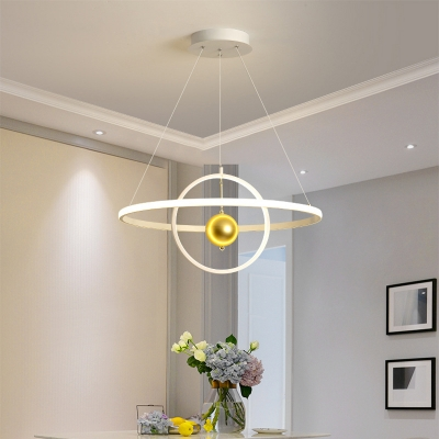 Modern Orbit Hanging Pendant Light Metal and Acrylic Black/White Led Chandelier with Gold Ball
