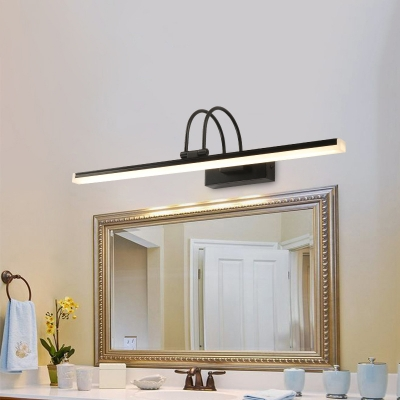 Modern Swing Arm Vanity Light Metal 1 Light Led Wall Lamp with Linear Shade