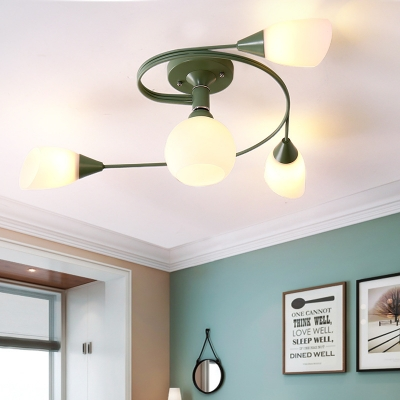 Nordic Curved Arm Semi Flush Ceiling Light with Opal Glass Shade 4/6 Heads Semi Flush Lamp in Blue/Green/Grey/Pink/Yellow