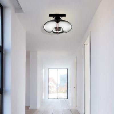 Oblong Flush Ceiling Light Fixture Modernist Glass 1 Light Sky Blue/Amber/Smoke Gray/Coffee Ceiling Light Fixture, 11