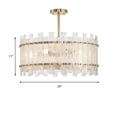Radial Hanging Chandelier Light with Oval Clear Glass 6 Lights Modern Suspension Light in Chrome