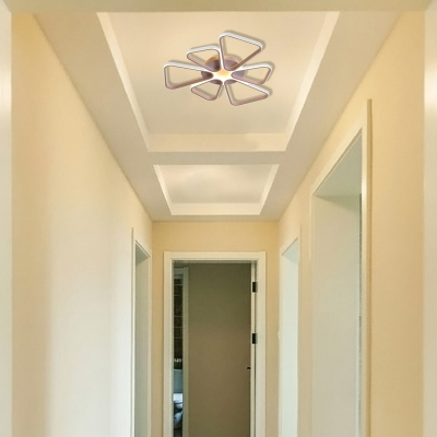 Simple Brown/White Ceiling Light Floral Shape Acrylic Warm/White Lighting LED Flush Mount Light for Child Room