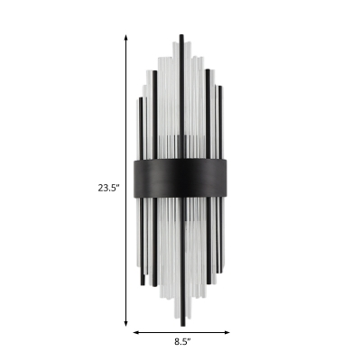 Tube Dining Room Wall Light Clear Crystal Modern Style LED Sconce Light in Black