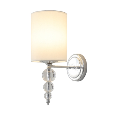 1 Light Cylinder Shade Wall Light with Crystal Ball Modern Metal and Fabric Wall Lamp in Chrome for Study Room
