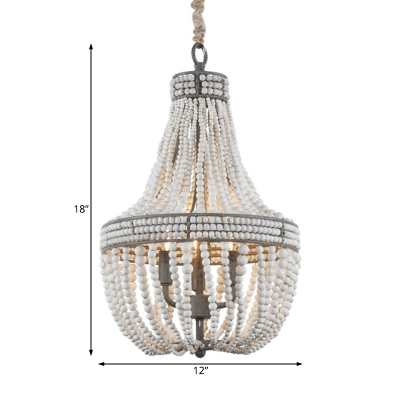 3 Lights Empire Chandelier Lighting French Country Wood Beaded Pendant Light in Rust