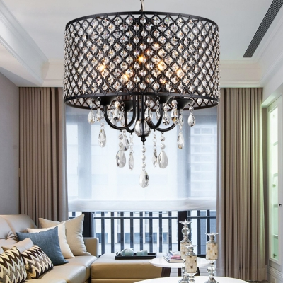 4 Lights Drum Hanging Light with Clear Crystal Modern Chandelier Light in Black/Chrome