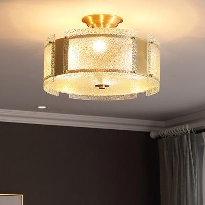 4 Lights Drum Semi Flush Light Clear Dimple Glass Vintage Bedroom