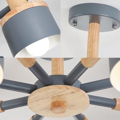 6/8 Heads Sputnik Semi Mount Lighting Contemporary Metal Semi-Flush Ceiling Light in Grey for Bedroom