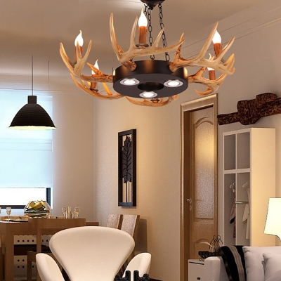 6 Lights Antlers Chandelier Light Fixture Resin and Metal Lodge Hanging Ceiling Light in Brown