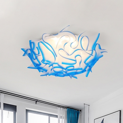 Acrylic Curl Flush Light Contemporary Integrated Led Ceiling Flush Light in Blue/Orange/Pink/Purple