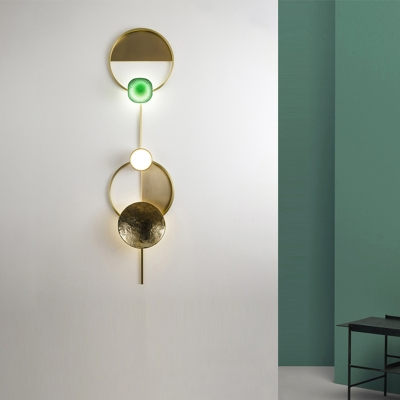 Art Deco Indoor Wall Mounted Lighting with Metal Disc Integrated Led Aged Brass Wall Light