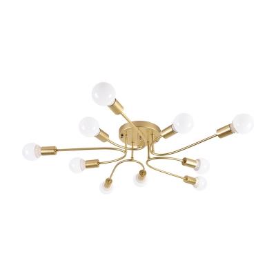 Black/Gold/White Sputnik Semi Flush Mount Light Modernism Metal 6/8/10 Heads Bedroom Ceiling Light