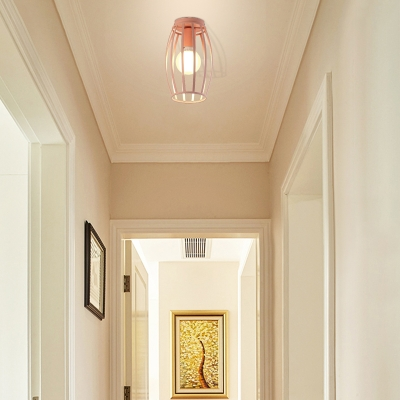 Black/Pink/Yellow/Blue/Green/Gold Oval Flush Mount Lamp Nordic 1 Light Metal Ceiling Mount Light for Corridor
