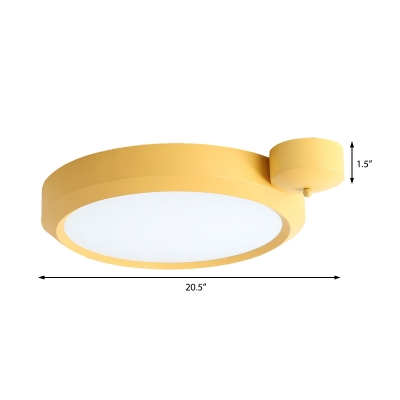 Blue/Red/Yellow Round Flushmount Lighting Metal Integrated Led Nordic Ceiling Flush Light in Second Gear, 20.5