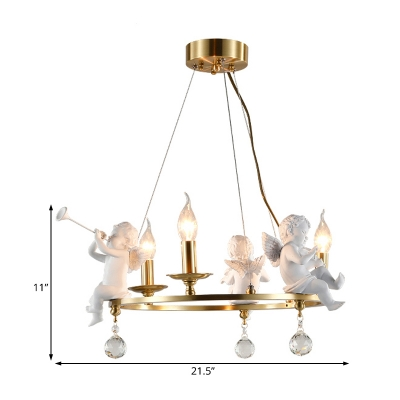 Brass Circular Pendant Lamp with Candle Traditional Metal 3/6/8 Lights Indoor Chandelier with Angel
