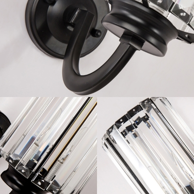 Clear Crystal Drum Wall Lamp Living Room 1 Light Modern Simple Sconce Light in Black
