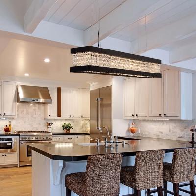 Clear Crystal Linear Chandelier Lighting 6/7/9 Lights Vintage Kitchen Island Lighting in Black/Gold