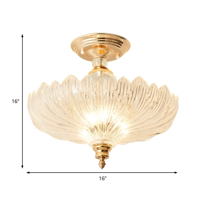 Gold/Black Flared Glass Semi-Flush Mount Modern Metal Crystal Ceiling Light Fixture for Dining Room