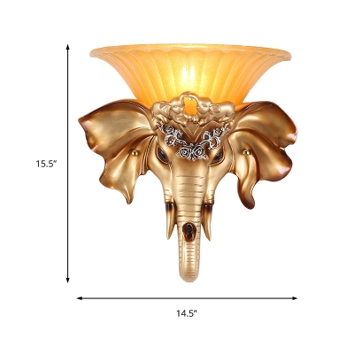 Gold Elephant Wall Mount Light Country Style Single Light Wall Sconce Light with Amber Glass Flared Shade