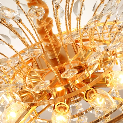 Gold Finish Tiered Chandelier Light Clear Crystal Ball 9 Bulbs Modern Hanging Ceiling Light