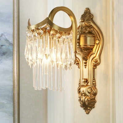 Metal Carved Backplate Wall Lamp Contemporary E14 Sconce Light in Gold for Corridor