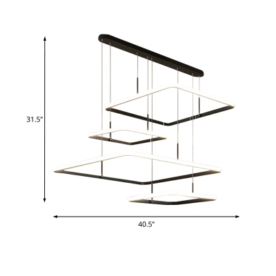 Multi Tier Hanging Hanging Lamp Modernism Metal Led Pendant Lighting in Black with Linear Canopy