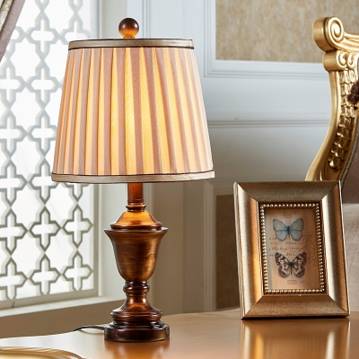 Traditional Table Lighting with Cone Gather Fabric Shade 1 Light Indoor Bronze Lighting for Bedroom
