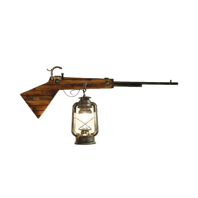 1 Light Lantern Lighting Fixture with Gun Decoration Retro Rustic Metal and Wood Wall Light in Bronze