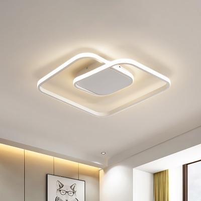 1 Light Square Led Flush Mount Ceiling Light Contemporary Metallic Black/Gold/White Flush Lamp in Warm/White
